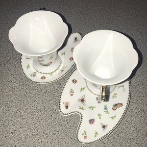 Set of 2 cups with saucers by Italian Design ~bugs